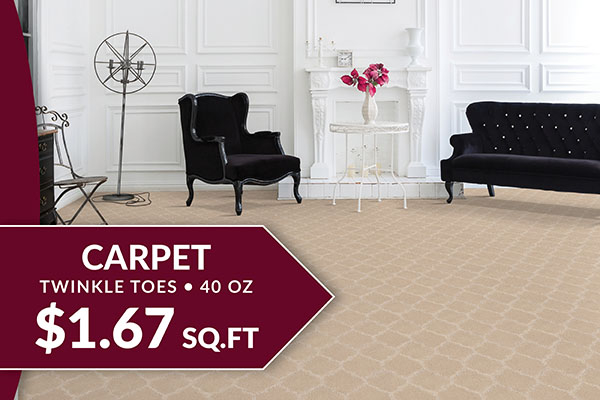 Flooring sale going on now! Twinkle Toes 40 oz carpet on sale for $1.67 sq.ft. – Only at Floor Express Abbey Carpet in Tumwater, Washington