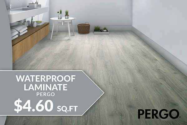 Flooring sale going on now! Pergo waterproof laminate starting at $4.60 sq.ft. – Only at Floor Express Abbey Carpet in Tumwater, Washington
