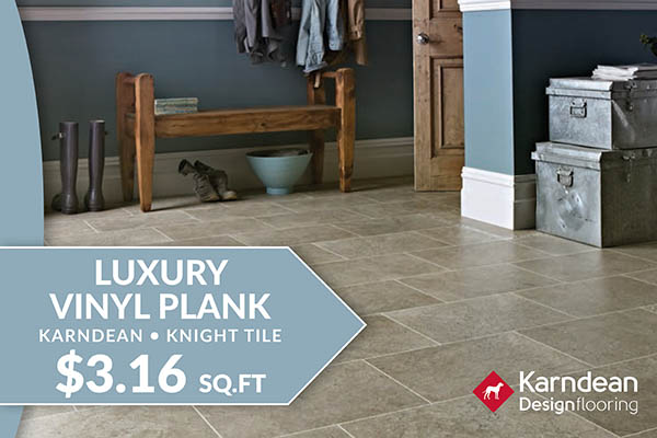 Flooring sale going on now! Karndean knight tile for only $3.16 sq.ft. – Only at Floor Express Abbey Carpet in Tumwater, Washington