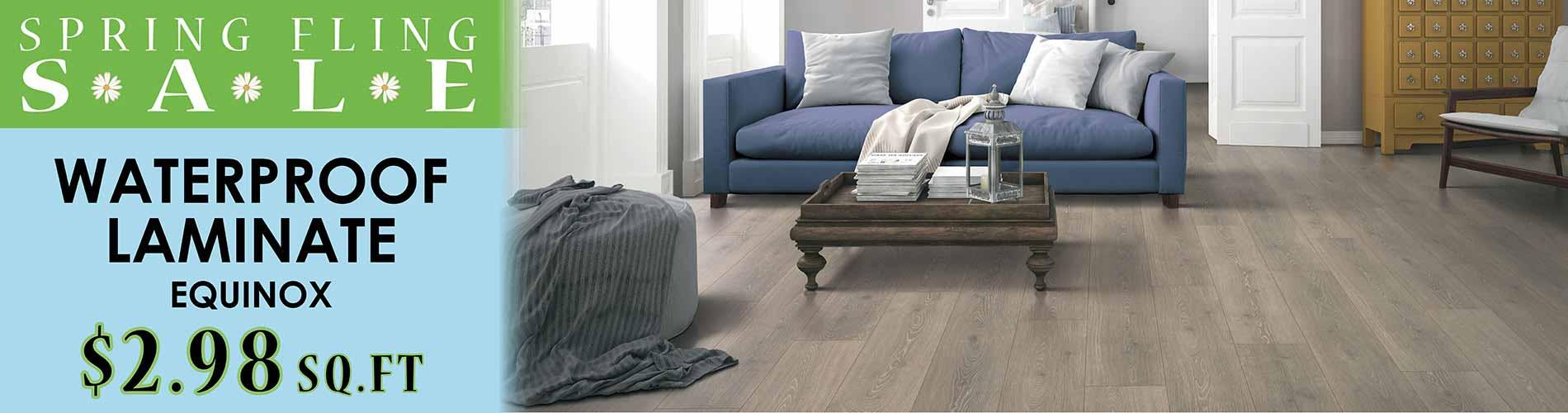 Equinox Waterproof Laminate Flooring starting at $2.98 during our Spring Fling Sale at Floor Express in Tumwater, WA