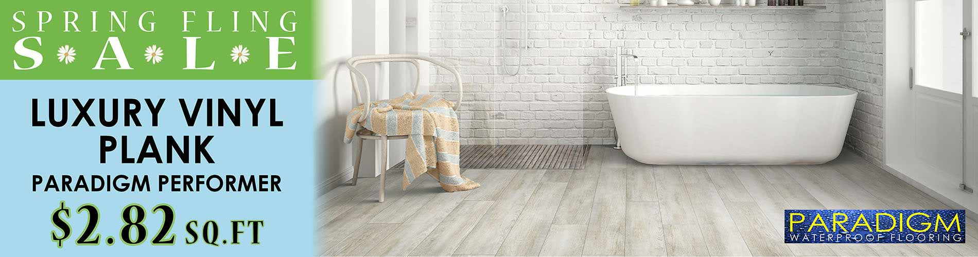 Paradigm Luxury Vinyl Plank Flooring starting at $2.82 during our Spring Fling Sale at Floor Express in Tumwater, WA