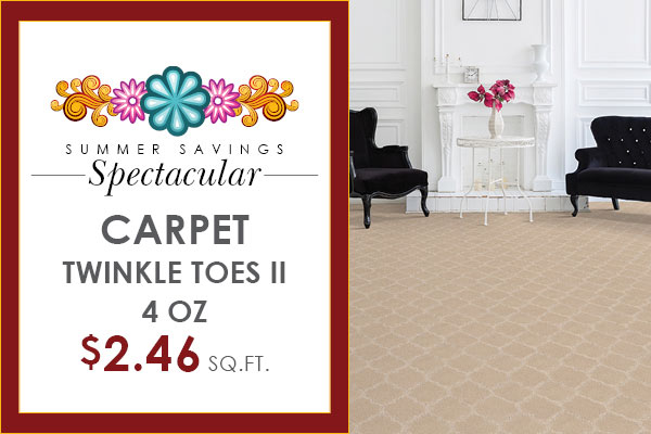 Twinkle Toes II carpet 4 oz on sale $2.46 sq. ft during our Summer Savings Spectacular