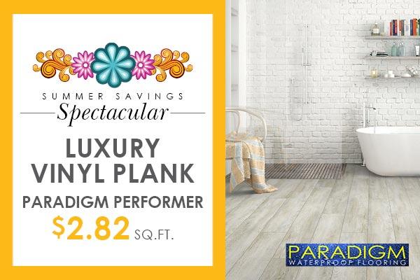 Paradigm Performer luxury vinyl plank on sale $2.82. sq. ft